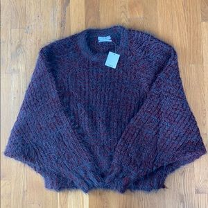 Urban Outfitters Blue & Maroon Fluffy Sweater